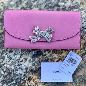 Coach Slim Envelope Leather Wallet w bow turnlock